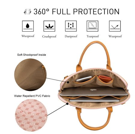 malirona 15.6 inch laptop shoulder bag with soft pvc material, full protection, antirust hardware and detachable shoulder strap