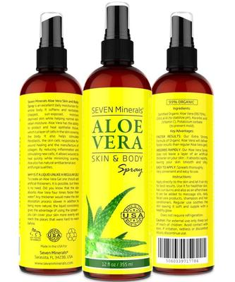 seven minerals aloe vera skin and body spray - soothing and natural healing spray moisturize and hydrate skin 12 fl oz
