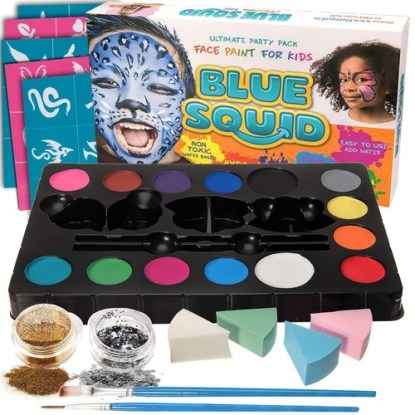 complete face painting kit by blue squid ultimate party pack face paint for kids - perfect for sensitive skin