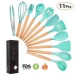 mibote 11 pieces kitchen utensil set with fda-approved and bpa free silicone material and wooden handle - great gift for cooking lovers