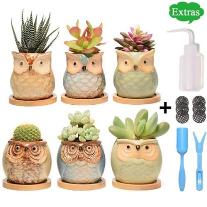 6 cute ceramics owl planters pots gardening tools by pataroma