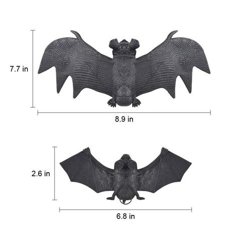 HANPURE 6 pieces Soft Rubber Halloween Bat Hanging Home Decoration Great Gift