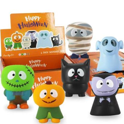 Halloween Gift for Kids 6 Pack Slow- rising Soft, Cute and Fun Squishies Toys from Heytech