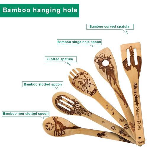 Hygnn Organic Burned Bamboo Cooking Utensils Set - Halloween Gift for Cooking Lovers