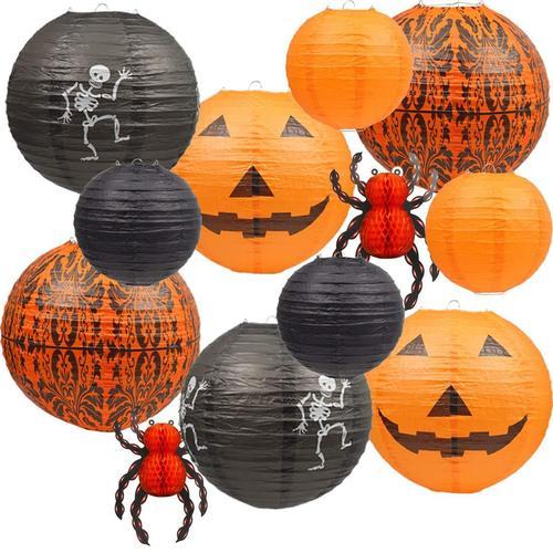 UNIQOOO Set of 12 Halloween Hanging Paper Lantern for Indoor and Outdoor Decoration