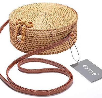 handwoven round rattan bag 100% handmade, natural, unique and chic from gyryp
