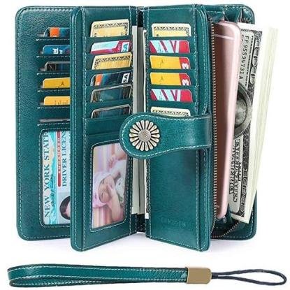 sendefn leather woman wallet with rfid blocking technology