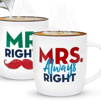 Couple Ceramic 13 oz Coffee Mug Set by Gifffted