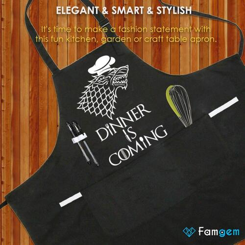 Famgem Aprons with Printing Dinner is Coming in Funny Gift Bag