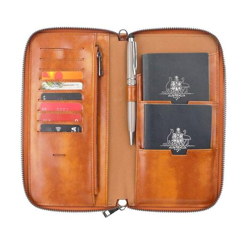 Gallaway Leather Travel Wallet Document Organizer