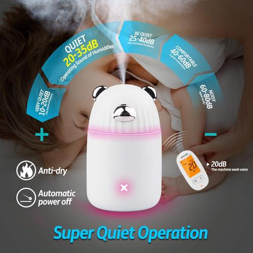 Lauzq 350 ml Portable Mini USB BPA-free Humidifier Cute Desing Makes Great Gift for Kids