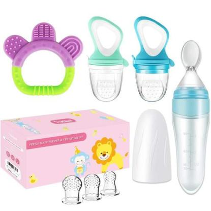 MICHEF Baby Feeding Set includes 2 baby fruit feeders with 3 silicone sacks, teething toy and a silicone baby squeeze spoon