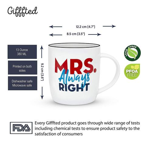 Mr Right Mrs Always Right Couple 2 Ceramic 13 oz Coffee Mugs from Gifffted
