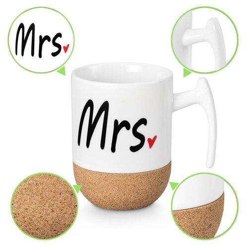 Zi-Rui ceramic and printed Mr and Mrs 9.5 oz coffee mug set with heat resistant cork bottom