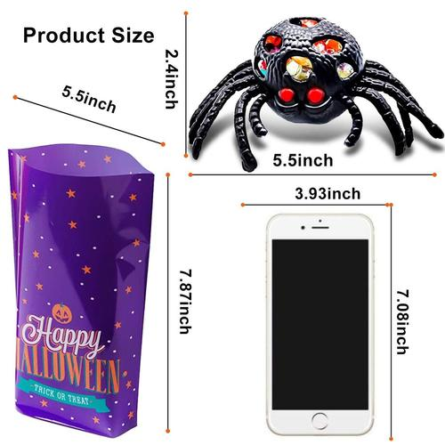 amenon 8 pieces black spider stress reliever toys with built-in LED flash ball great halloween gift