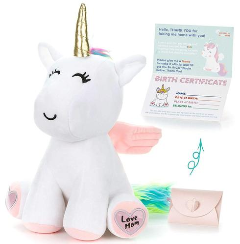 infloatables stuffed unicorn with special writeable heart paws makes special birthday gift for girls