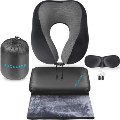 proglobe ultimate 4-in-1 airplane travel set includes blanket, neck pillow, 3D eye mask, earplugs