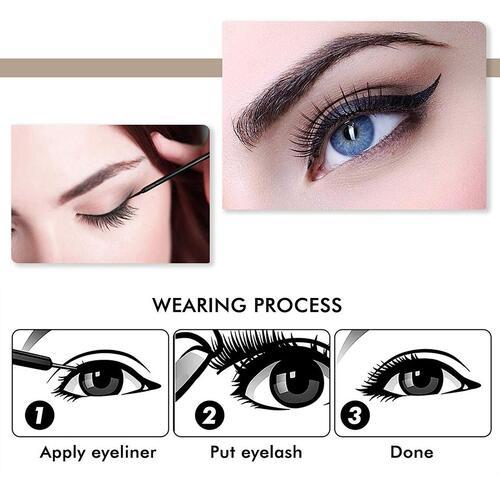 Arishine 3 pairs Smudge-proof Magnetic Eyelashes with Eyeliner