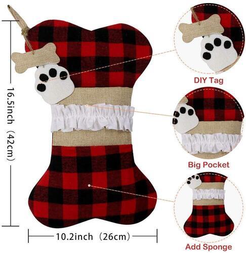 AerWo Large 2pcs Dog Christmas Stockings Xmas Home Decor