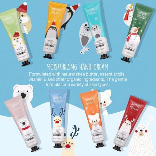 Luckyfine 8pcs Christmas Fragrance-free Hand Cream Gift Set