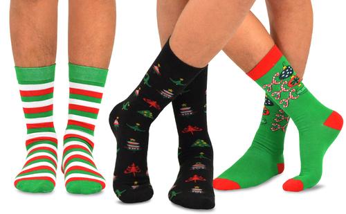 TeeHee 12-Pack Machine Washable Christmas Socks for Men