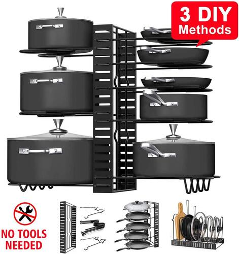 G-TING 8 Tier Pots and Pans Organizer with 3 DIY Methods