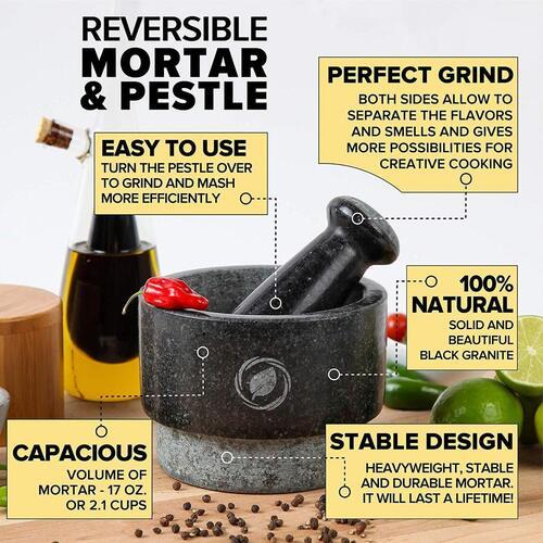 Laevo Cook Double Sided Granite 17 oz Mortar and Pestle Set