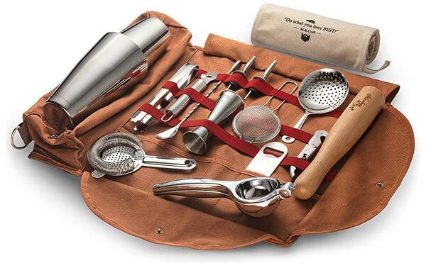 Mixology & Craft 17pcs Stainless Steel  Bar Tools Set in Canvas Roll Carrying Bag