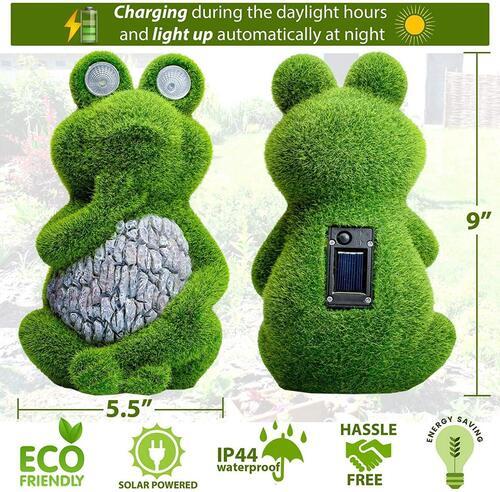 Shefio Lawn Ornaments backyard decorations outdoor solar frog