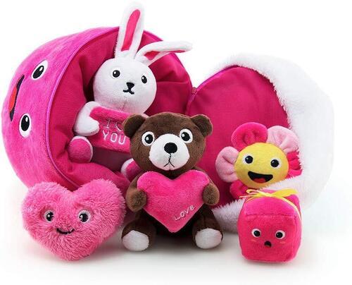 TEYTOY Valentine's Day 6 pieces Soft Cotton Plush Baby Toys Machine Washable