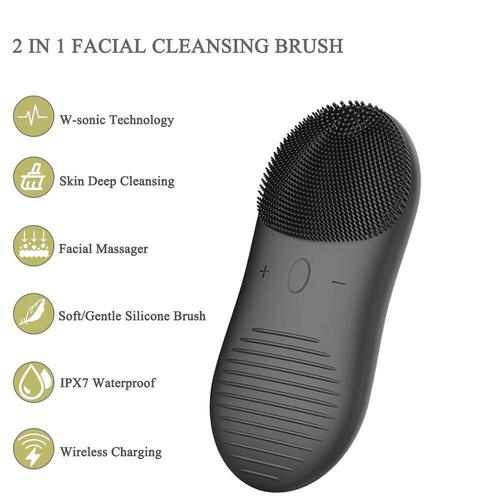 XNUO IPX7 Waterproof Men's Silicone Sonic Facial Cleansing Brush with 8000 RPM motor and micro-thin 0.6 mm bristles
