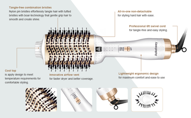 Aokebeey One Step Multifunctional Hair Styling Tools with ceramic coating and tangle-free combination bristles