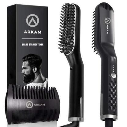 Arkam Men's Beard Straightener Brush with 3 Heat Levels