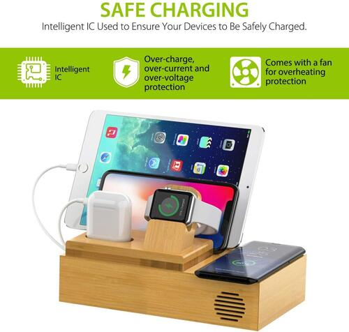CHGeek Natural Bamboo Charging Station with Wireless Charger Pad and USB Ports