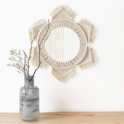 Mkono Cotton and Glass Macrame Wall Hanging Mirror