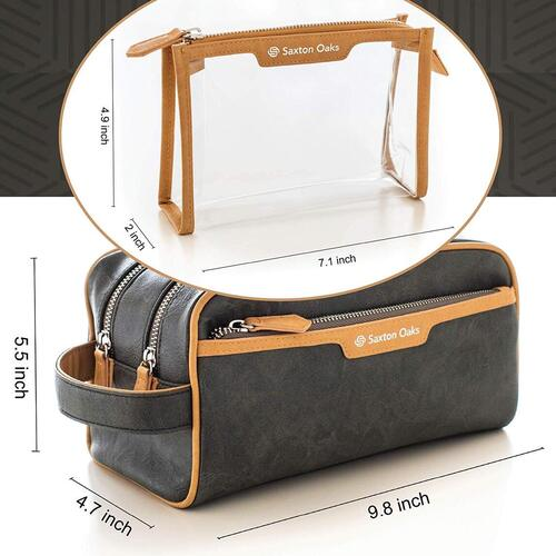 Saxton Oaks Waterproof Toiletry Bag Organizer Set for Men the Perfect Gift for Traveler