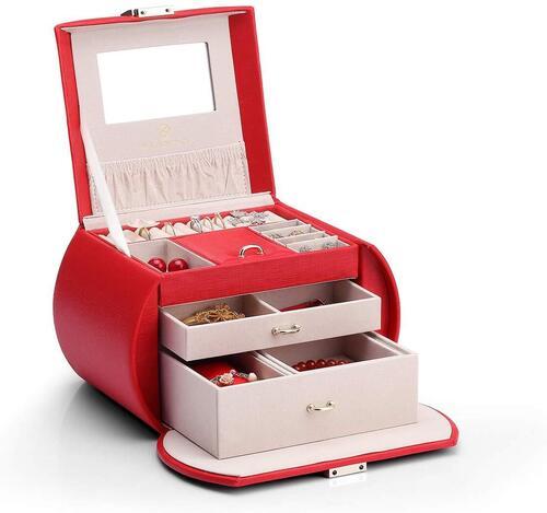 Vlando Synthetic PU Leather Oval Jewelry Box Organizer for Women