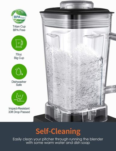 Aicok BPA-free Professional Blender with Dishwasher-Safe 70oz Tritan Pitcher