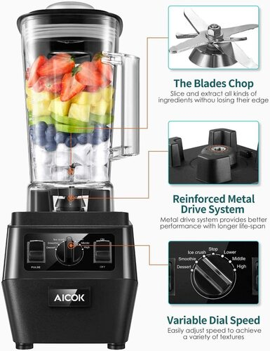 Aicok BPA-free Professional Blender with Rainforced Meetal Driver System and Titanium Plated Stainless Steel Blades