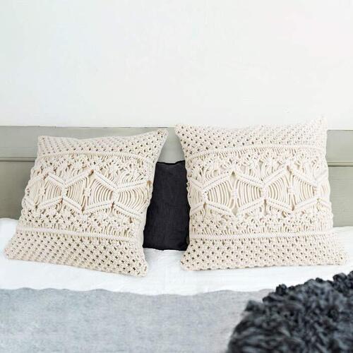 Mkono 2 pcs Boho Style Macrame Throw Pillow Cover