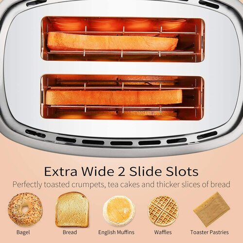 COOCHEER Stainless Steel 2 Slice Toaster with Countdown Timer and Removable Crumb Tray