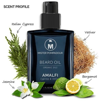 Mister Pompadour Organic Beard and Mustache Oil AMALFI Scent Cypress and Vetiver