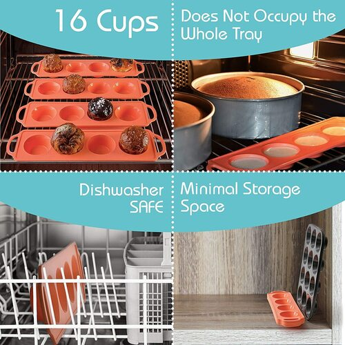 Moty 16 Cup 100% Silicone Muffin Pan with Metal Reinforcement in Handle and Pan Frame