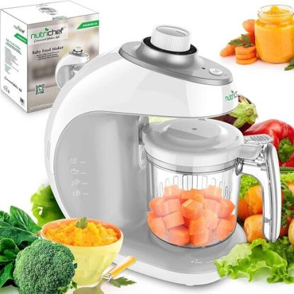 NutriChef PKBFB18 2-in-1 Baby Steamer Cooker and Puree Blender Food Processor with Steam Timer