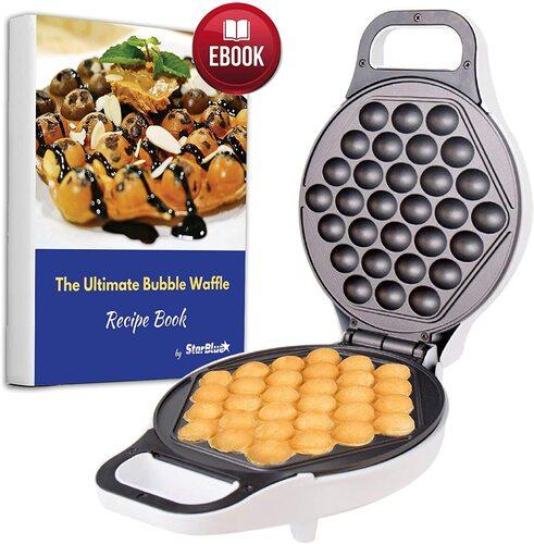 StarBlue Hong Kong Style Non Stick Egg Bubble Waffle Maker include Recipe e-Book