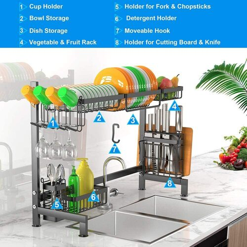 iBesi Stainless Steel Over the Sink Dish Drying Rack