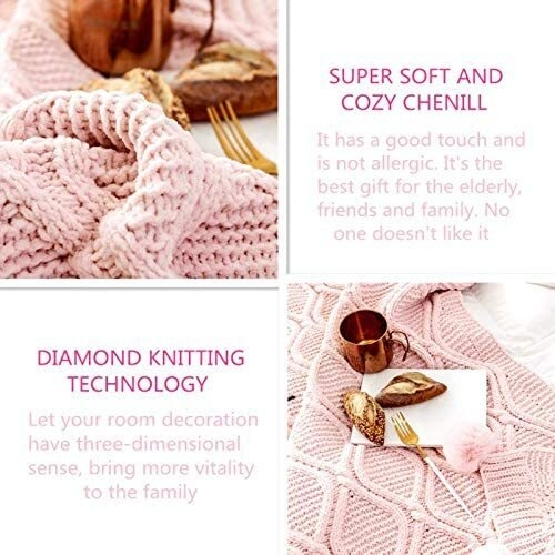 LakeMono Chenille Decorative Throw Blanket with Pompoms