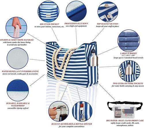 SHYLERO Large Beach Bag with Sturdy and Comfy Rope Handles