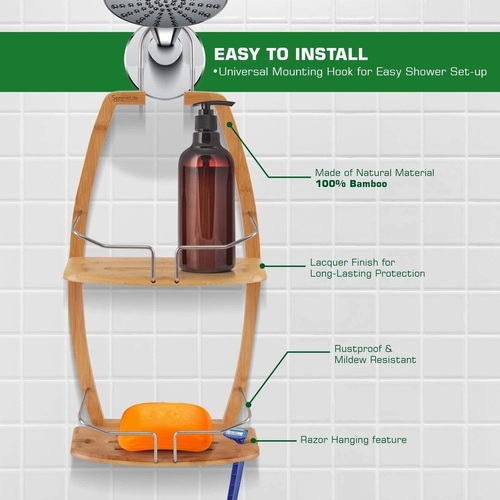 SereneLife Bamboo Shower Caddy