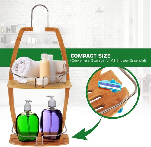 SereneLife Bamboo and Stainless Steel Hanging Shower Bathtub Caddy Organizer